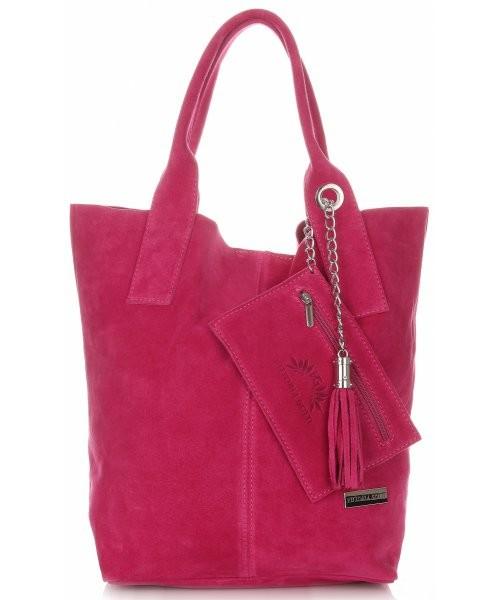145745206d97f Shopper bag Vittoria Gotti Włoskie Torebki Skórzane typu ShopperBag wykonane  z Wysokiej Jakości Zamszu Naturalnego Fuksja
