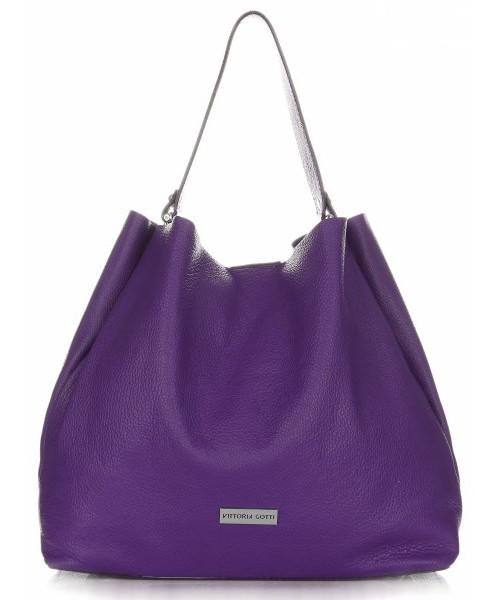 241481208236c Shopper bag Vittoria Gotti Włoskie Torebki Skórzane ShopperBag XL firmy  Śliwka