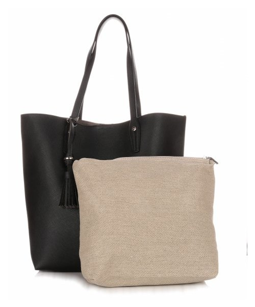 08543f25fccf4 Shopper bag David Jones Duża Torba Damska Typu Shopper Bag XXL z  Kosmetyczką Czarna