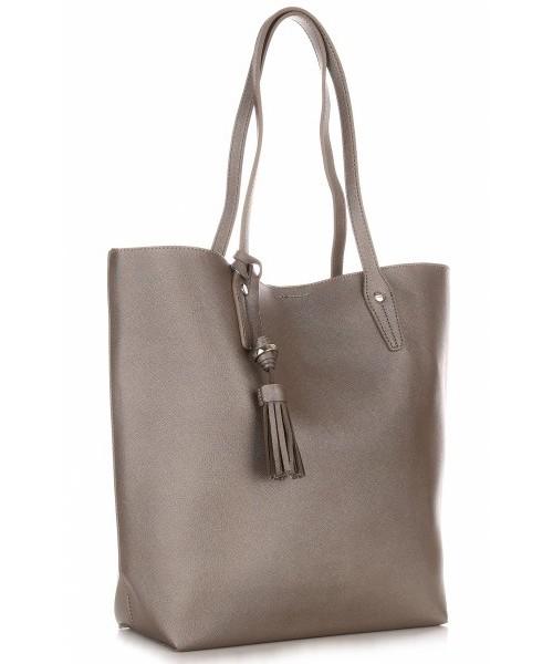4256ccbd3bdfe Shopper bag David Jones Duża Torba Damska Typu Shopper Bag XXL z Kosmetyczką  Stare Złoto