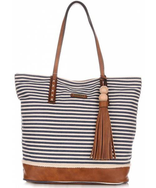 28d5a1186dc7 Shopper bag David Jones Duża Torba Damska Typu Shopper Bag XXL  Beżowa Niebieska