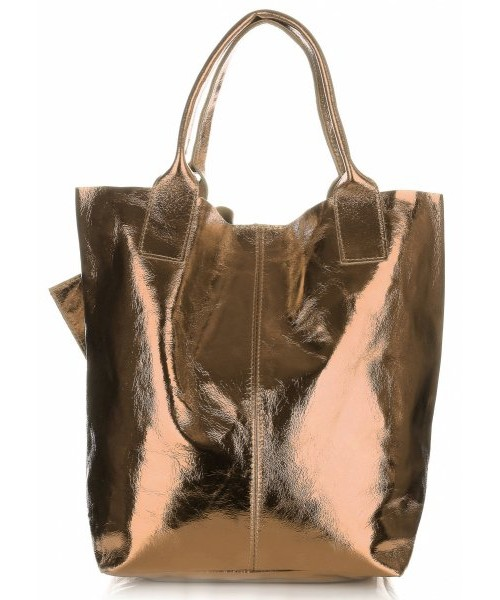 45d3b387b3e48 Torebka skórzana Genuine Leather Oryginalne Torebki Skórzane ShopperBag  Błysk Szampan