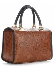 aa77a17b48f80 Kuferek Eleganckie Torebki Skórzane Kuferki w Tłoczone wzory Liści Brązowe  - panitorbalska.pl Genuine Leather