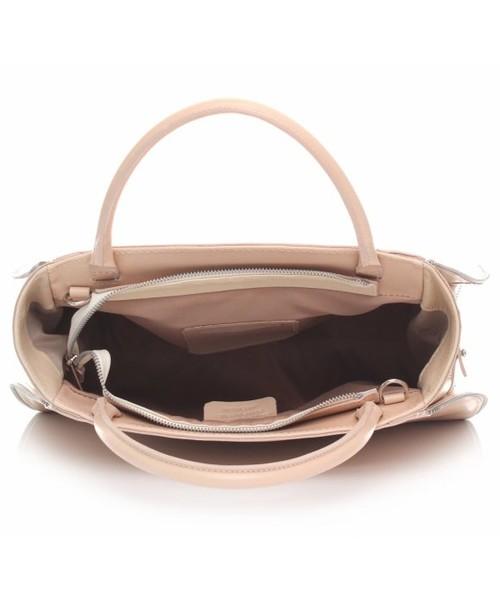 7639ac97c9fe0 Kuferek Genuine Leather Torebka skórzana kuferek z możliwością poszerzenia  Jasny Beż