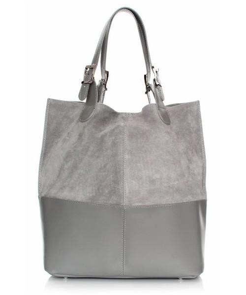 13e84d021a8db Shopper bag Genuine Leather Torebka Skórzana Ekskluzywny Shopper bag Jasno  Szara