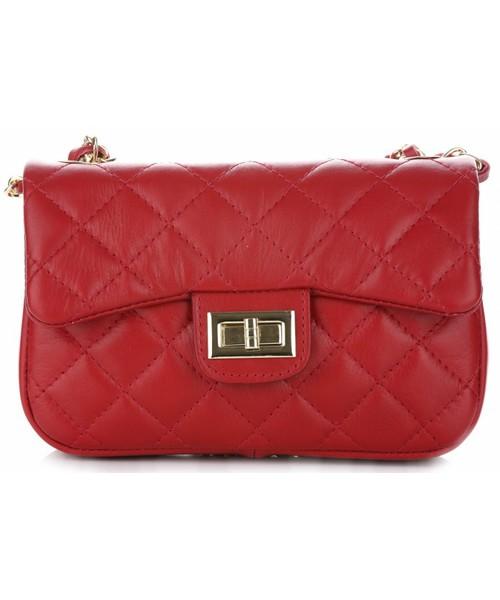 e2c87b831eb24 Listonoszka Vera Pelle Włoska Pikowana Torebka ze skóry naturalnej  Listonoszka firmy Genuine Leather Czerwona
