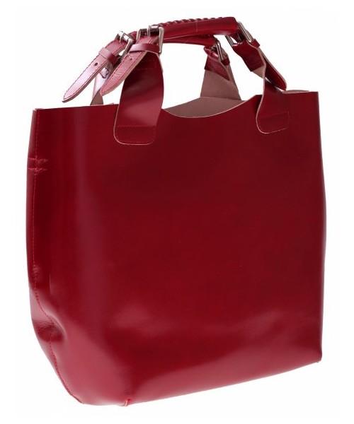 8e858e1301d8b Shopper bag Vera Pelle Torebka skórzana Shopperbag z kosmetyczką Czerwona