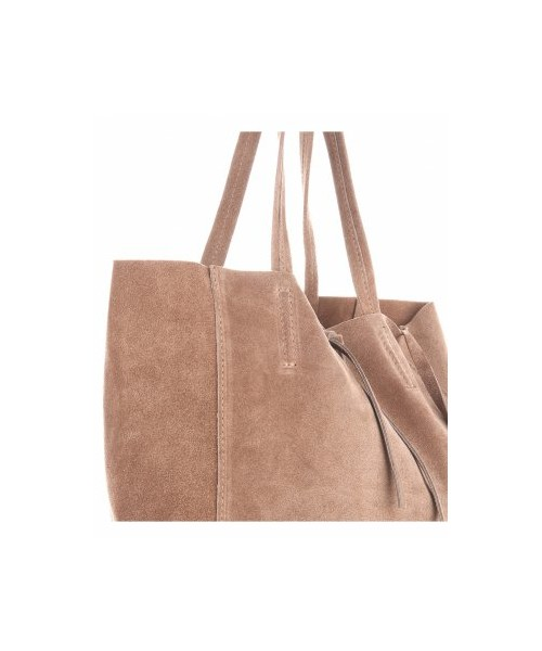 bf8514a0d312c shopper bag Modne Torebki Skórzane typu ShopperBag z Etui Zamsz Naturalny  Wysokiej Jakości Ziemista - panitorblska