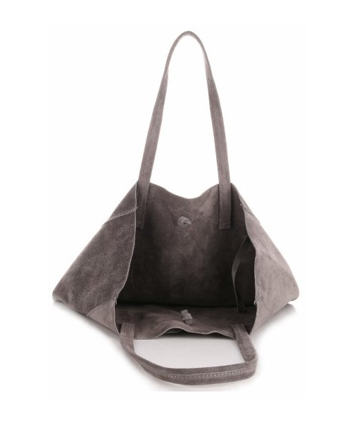 cdcda6a92a871 Shopper bag Vera Pelle Modne Torebki Skórzane typu ShopperBag z Etui Zamsz  Naturalny Wysokiej Jakości Szara