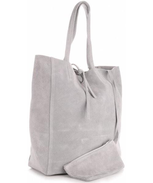 5604a897a2e14 Shopper bag Vera Pelle Modne Torebki Skórzane typu ShopperBag z Etui Zamsz  Naturalny Wysokiej Jakości Jasno
