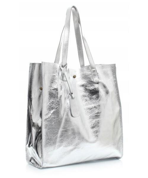 7d0c5b3ef753e Vera Pelle Torba Skórzana Shopper Bag z Kosmetyczką Srebrna, shopper ...