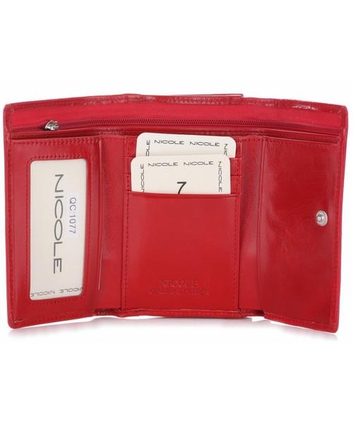 8568cf9708335 Portfel Nicole Poręczny i Pojemny Portfel Damski Skórzany Czerwony