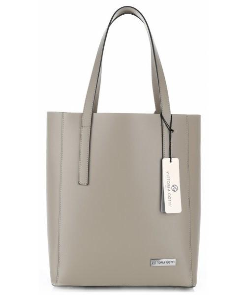 88ec9d8d2071f9 Shopper bag Virus Włoskie Torebki Skórzane z kosmetyczką Elegancki  ShopperBag XL firmy Vittoria Gotti Beżowy
