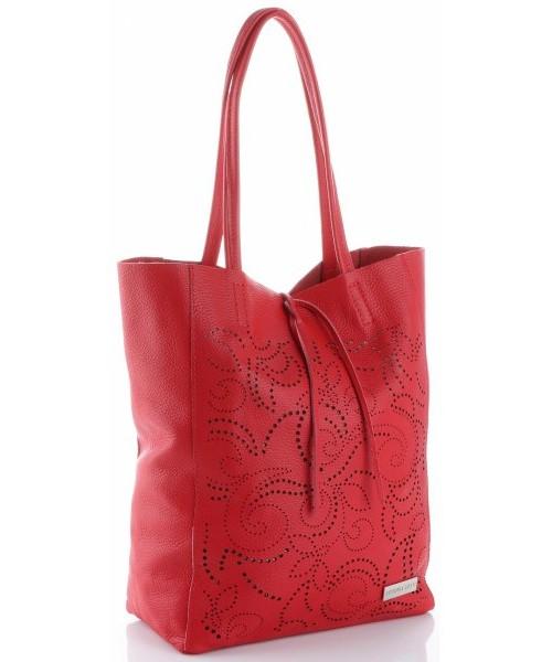 8f14de7c51da1 Shopper bag Virus Vittoria Gotti Ażurowa Torebka Skórzana Włoski ShopperBag  Czerwona
