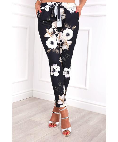 7161e959 spodnie Modoline Spodnie w kwiaty białe czarne