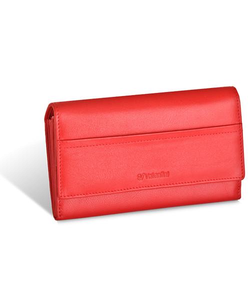 697098e110e65 portfel Valentini Portfel damski Black Red Diamond 154-550 Czerwony Skóra  cielęca Portmonetka
