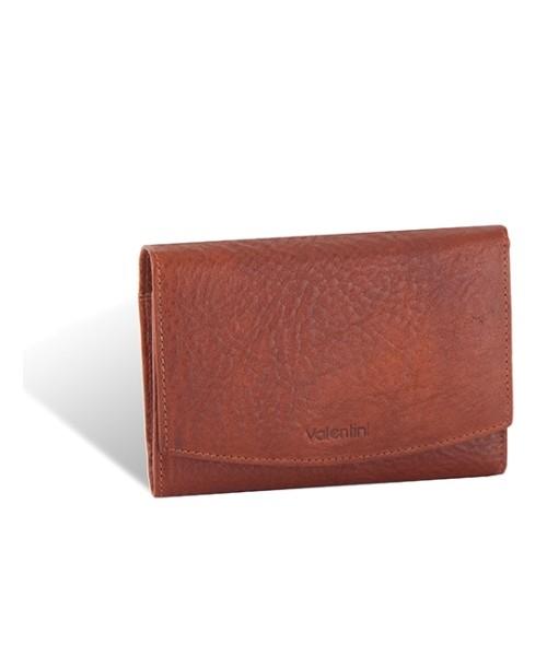 e4b8fd623ed39 portfel Valentini Skórzany portfel damski Camel RFID 681 Brązowy Skóra  naturalna Portmonetka