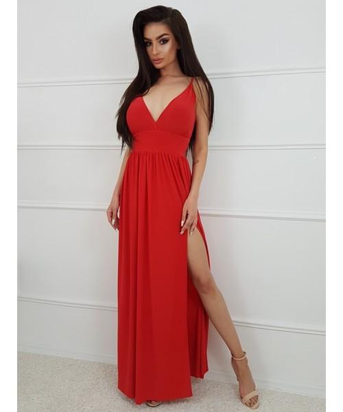 9495e3d2e8 sukienka Tooshe LOU - CZERWONA DŁUGA SUKIENKA
