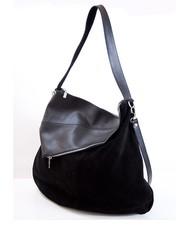 Torebka skórzana Skórzana torebka na ramię, zamsz naturalny VP 030117 Black - verabags.pl VERA BAGS